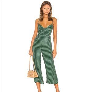 Faithfull the Brand Green Stripe Jumpsuit Size M